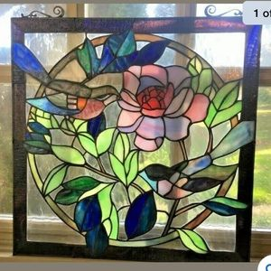 """Gorgeous Birds & Flower Leaded Stained Glass 18"""""""